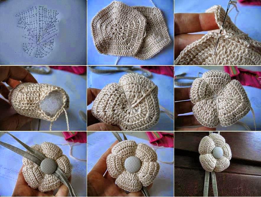 Flores tejidas al crochet con base pentagonal rellenas con guata - paso a paso