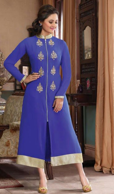 Blue Chanderi Embroidered Desinger Kurti for Wedding Wear