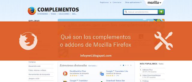 Qué son y para qué sirven los complementos o addons de Mozilla Firefox