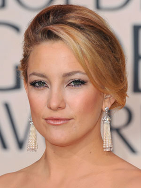 Kate Hudson's loose updo has a smooth finish and a lifted swoop up front.