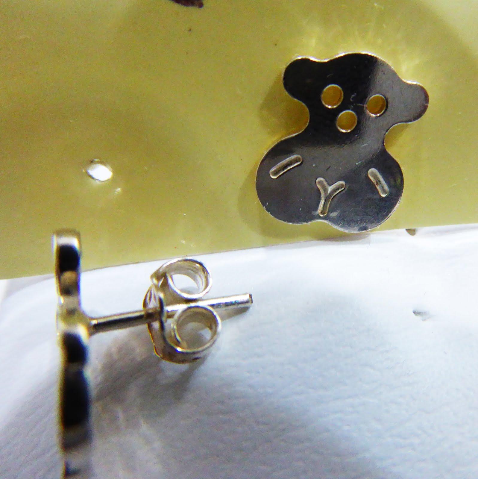 Pendientes de plata con osos
