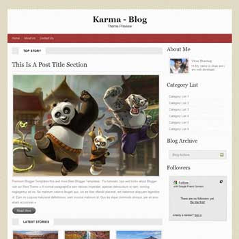 Karma template blogger. convert wordpress theme to blogger template.wordpress to blogspot template. 4 column footer blogger template
