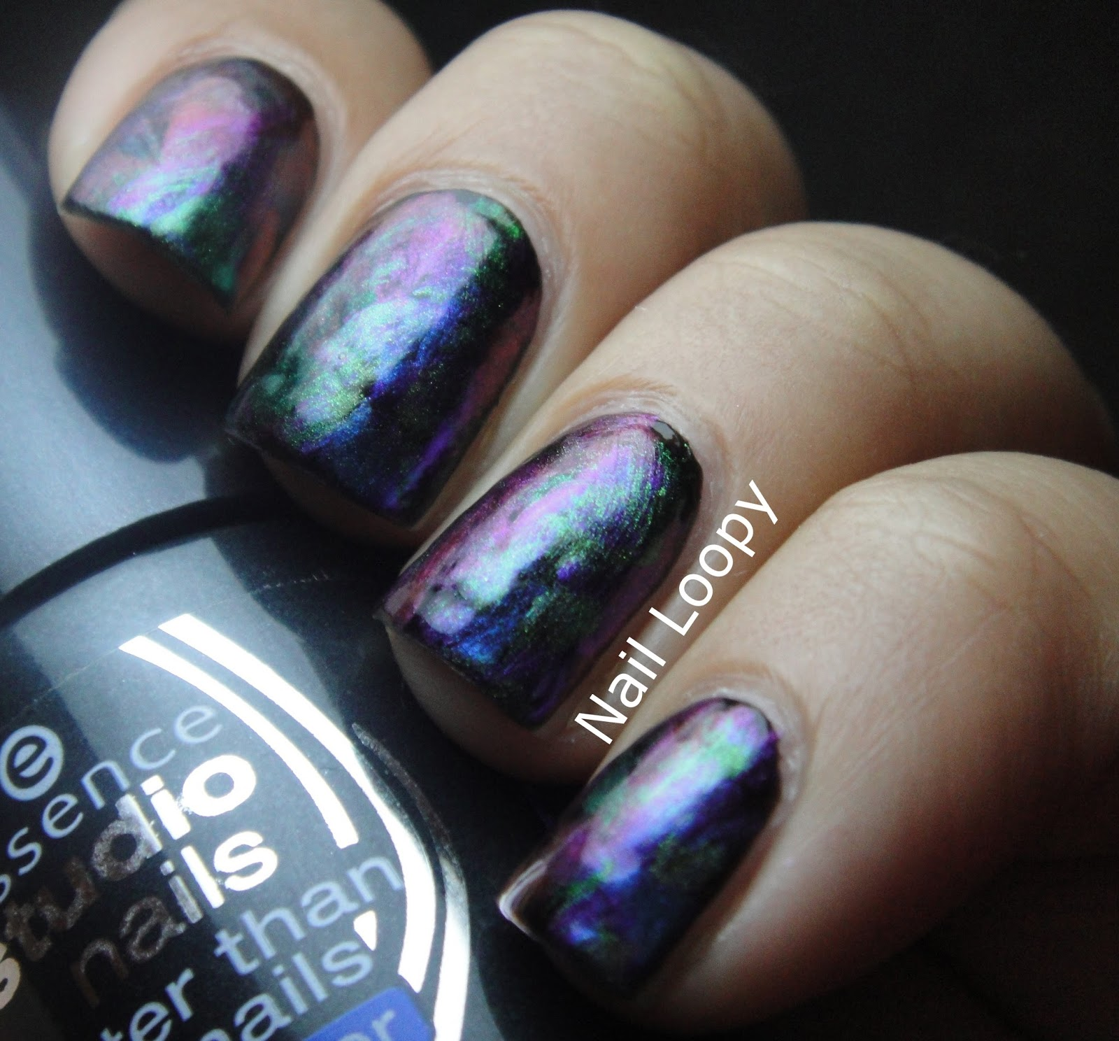 nail loopy: ILNP ULTRA CHROME BRUSH STROKE - OIL SPILL NAILS