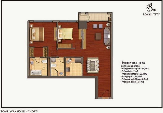 mặt bằng căn hộ diện tích 111-m2 Royal City tòa R1 tòa R1