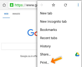 Print Button on Android Google Chrome