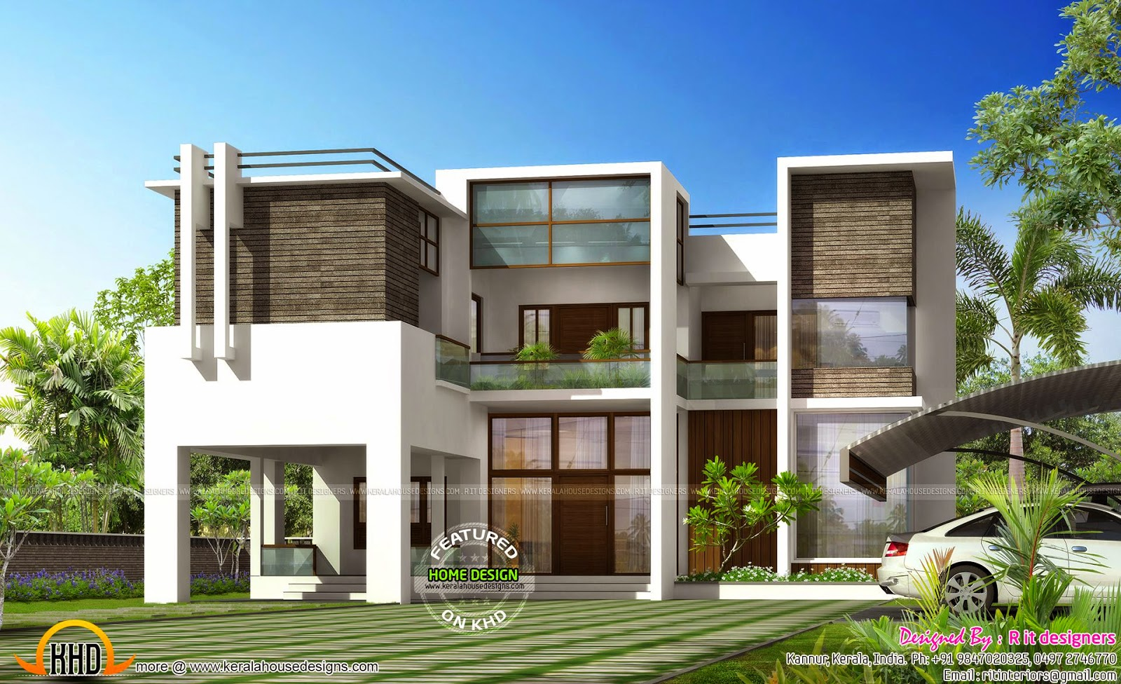 House with separate tensile form porch kerala home for Modern portico designs