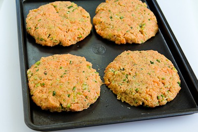 Form the salmon mixture into four large or six medium patties. (We ...