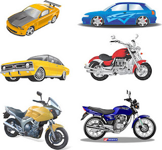 vetor de carros e motos