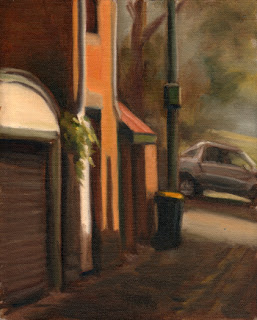 Oil painting of buildings and a bin in a laneway, with a car in the background.