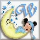 Alfabeto de Mickey Bebé durmiendo en la luna W.