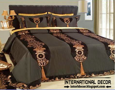 Italian bedspread, Italian bedding set,luxury bedspread,black and gold bedding sets and bedspreads