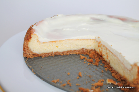 New York Style Cheesecake - cream cheese, lemon peel, topping of sour cream/sugar. @whatchamakinnow