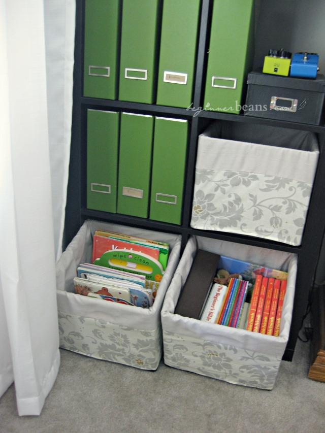 small spaces with kids: store books in covered crates