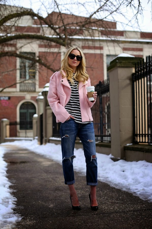 look abrigo rosa