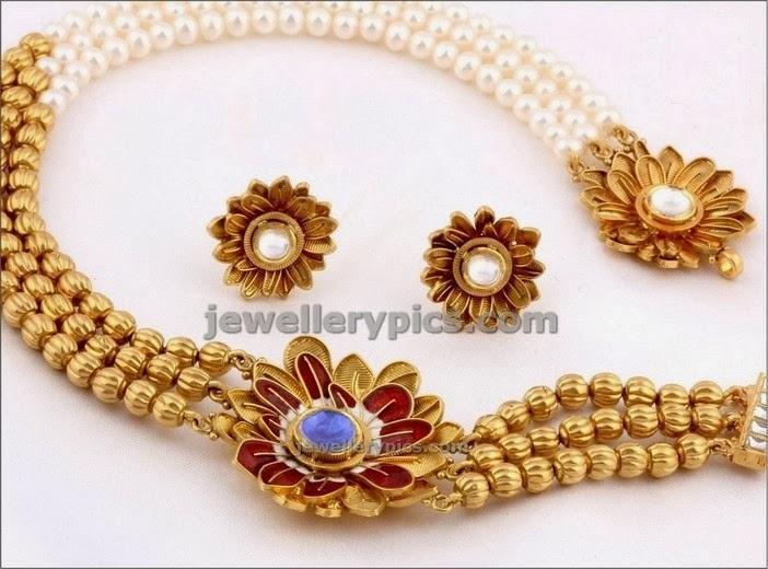 pngadgil half gold half pearl necklace 2014 design
