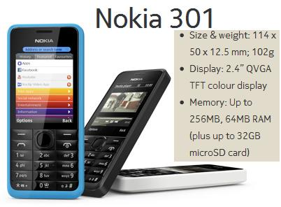 Nokia 301 Price in India, Nokia 301 Features, Specifications, Review