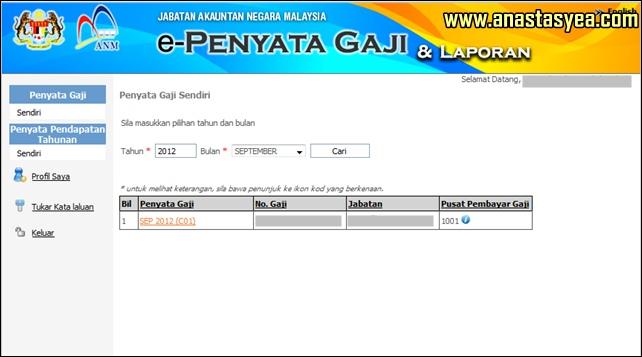 Penyata Gaji Bulanan Kerajaan http://www.anastasyea.com/2012/09/semak