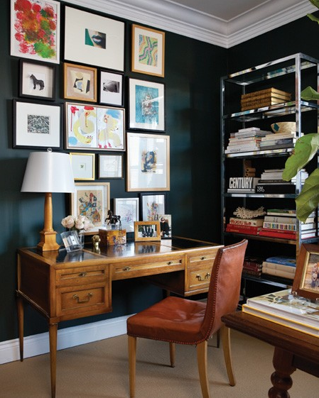 My notting hill farrow ball carriage green for Pictures of home offices