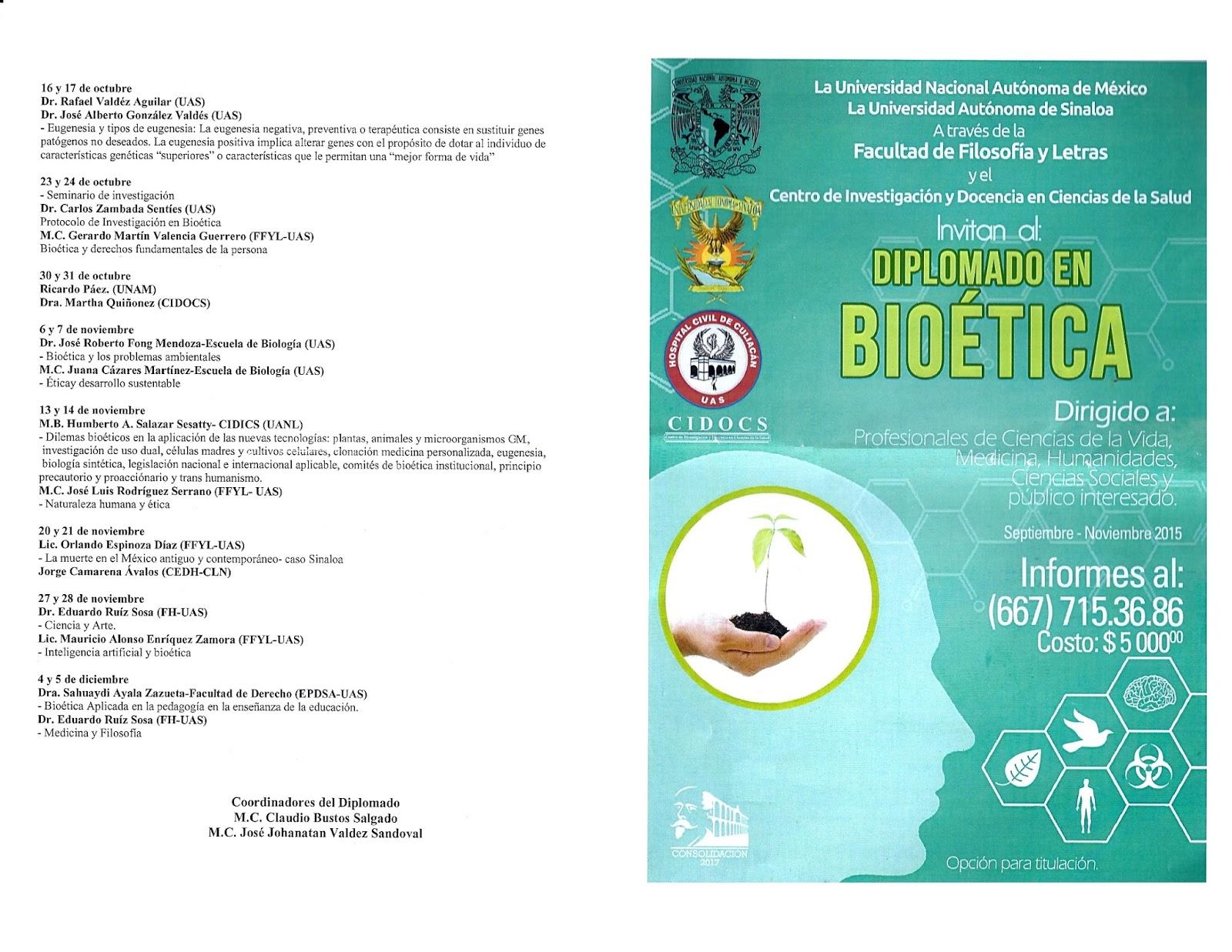 programa diplomado en bioetica unamuas fflcidocs ciencias de la salud culiacan