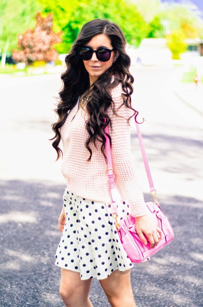 pink jumper, polka dot flared skirt, pink jumper blue vanilla, blue vanilla outfit, blue vanilla review, curly hair, pop of pink outfit, pink sandals, pink purse, pink and polka dot outfit, shopbop outfit, teen fashion,