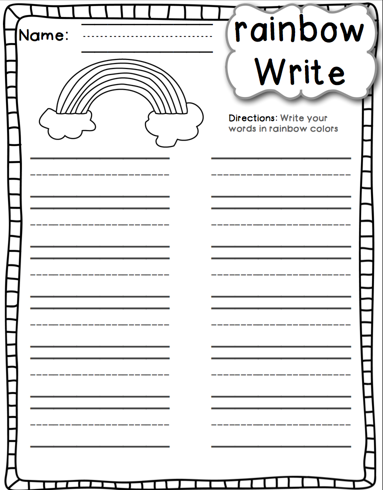 Happy little kindergarten fun with phonics word work style for Rainbow writing spelling words template