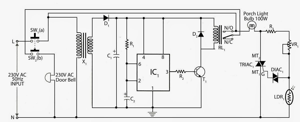Doorbell Control Porch Light Circuit Diagram: