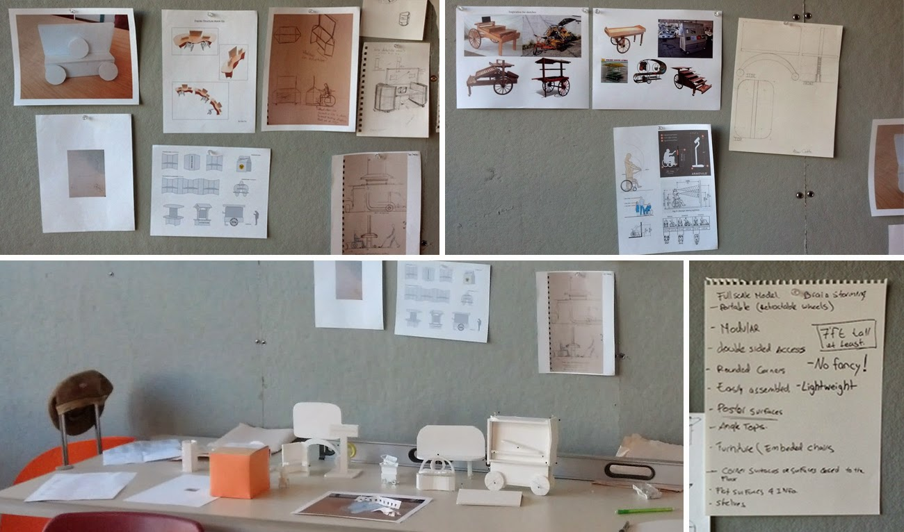 Images, sketches, and lists are pinned to a board with another image of miniature models on a table.