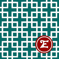 Happy Habitat Grid Pattern- Red and Turquoise