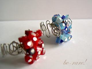pierścionki wire wrapping fokus na niebieskie millefiori