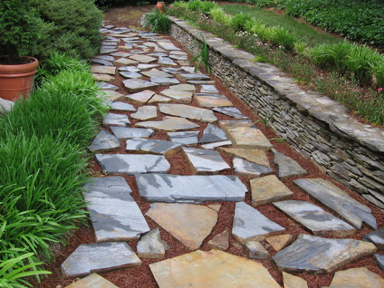 Drystack wall and stepping stones