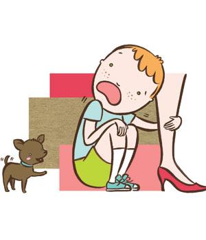 criança com medo de cachorro