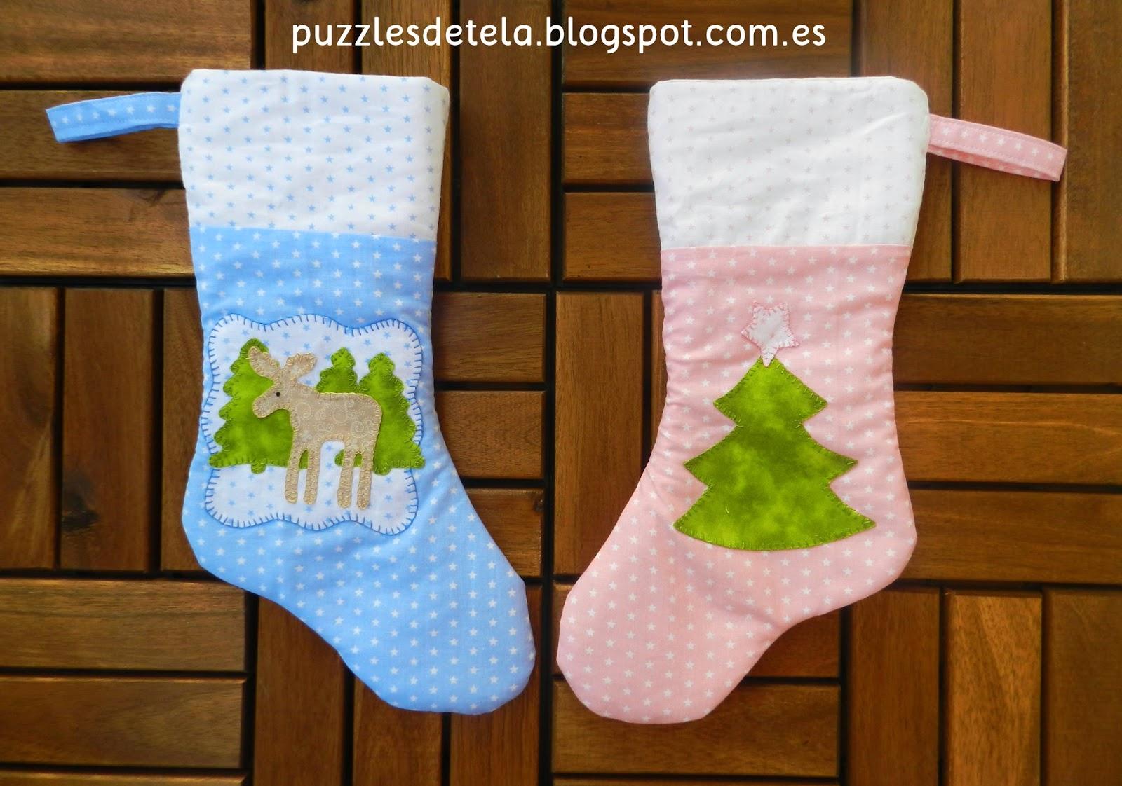 stocking patchwork, botas de navidad, calcetín de navidad, Navidad, adornos patchwork navidad, patchwork, Puzzles de tela,