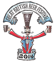 Great British Beer Festival logo 2014 - a cartoon of a ringmaster holding out two pints of beer.