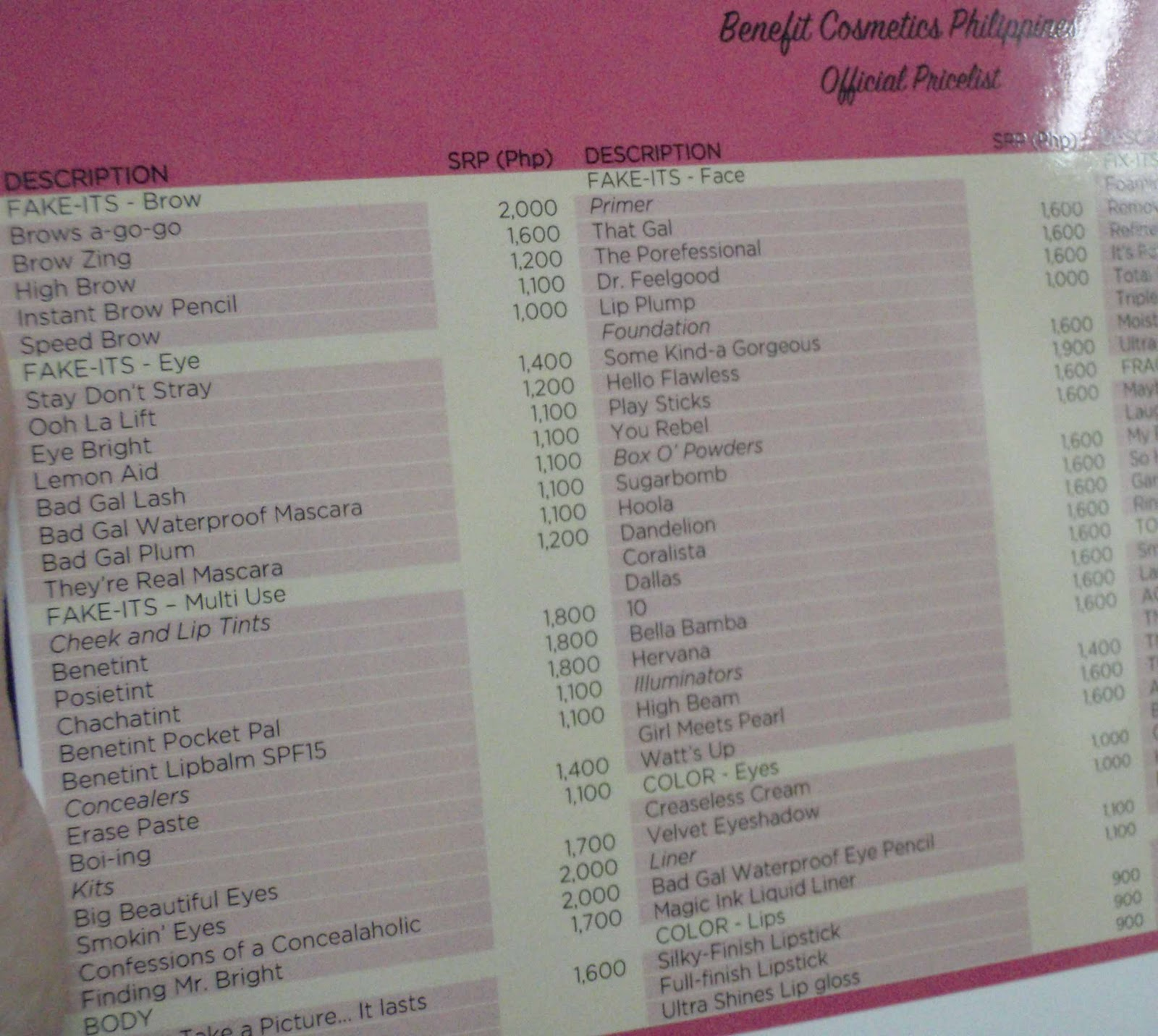 A sneak peek at benefit cosmetics philippines price list for Act point salon price