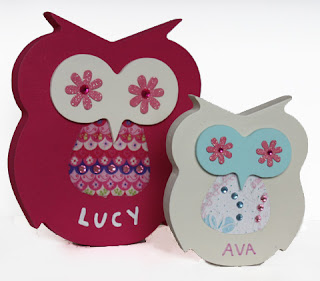 Wooden name plaques personalised free standing owls door wall kids