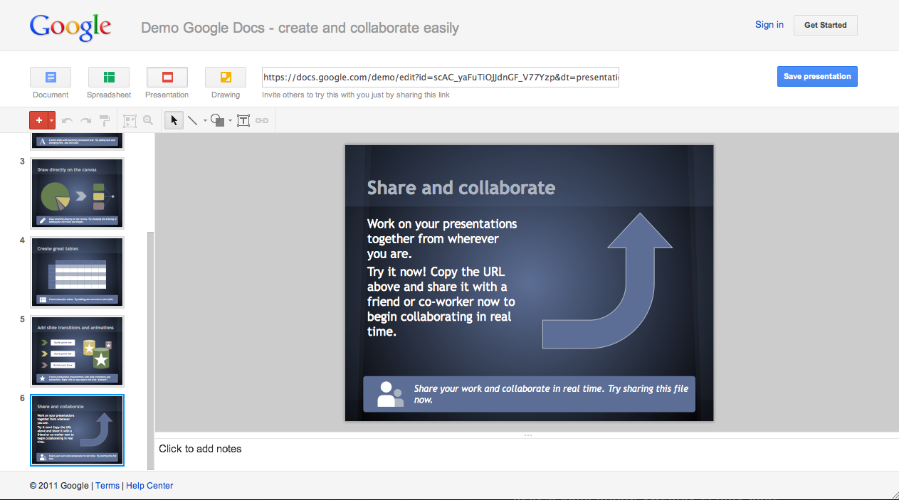 Google Drive Blog: Try Google presentations. No login required.