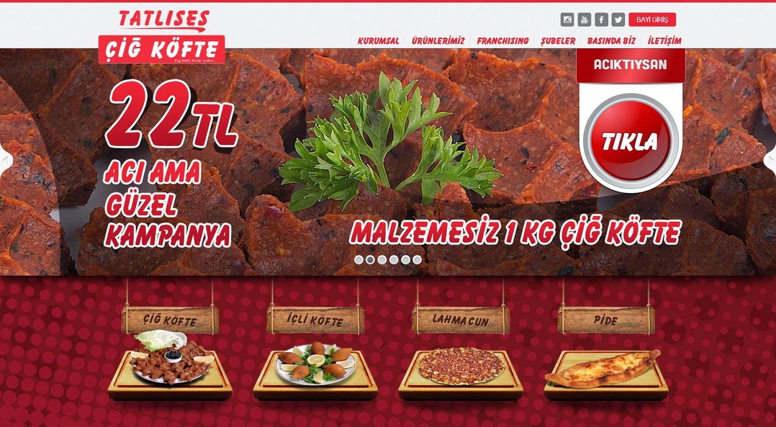Tatlıses Çiğ Köfte Web Tasarım - Ana Sayfa Tasarım