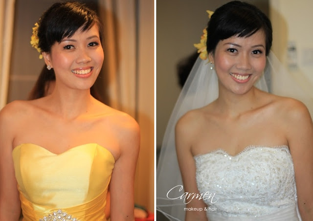 yellow dress, and wedding gown