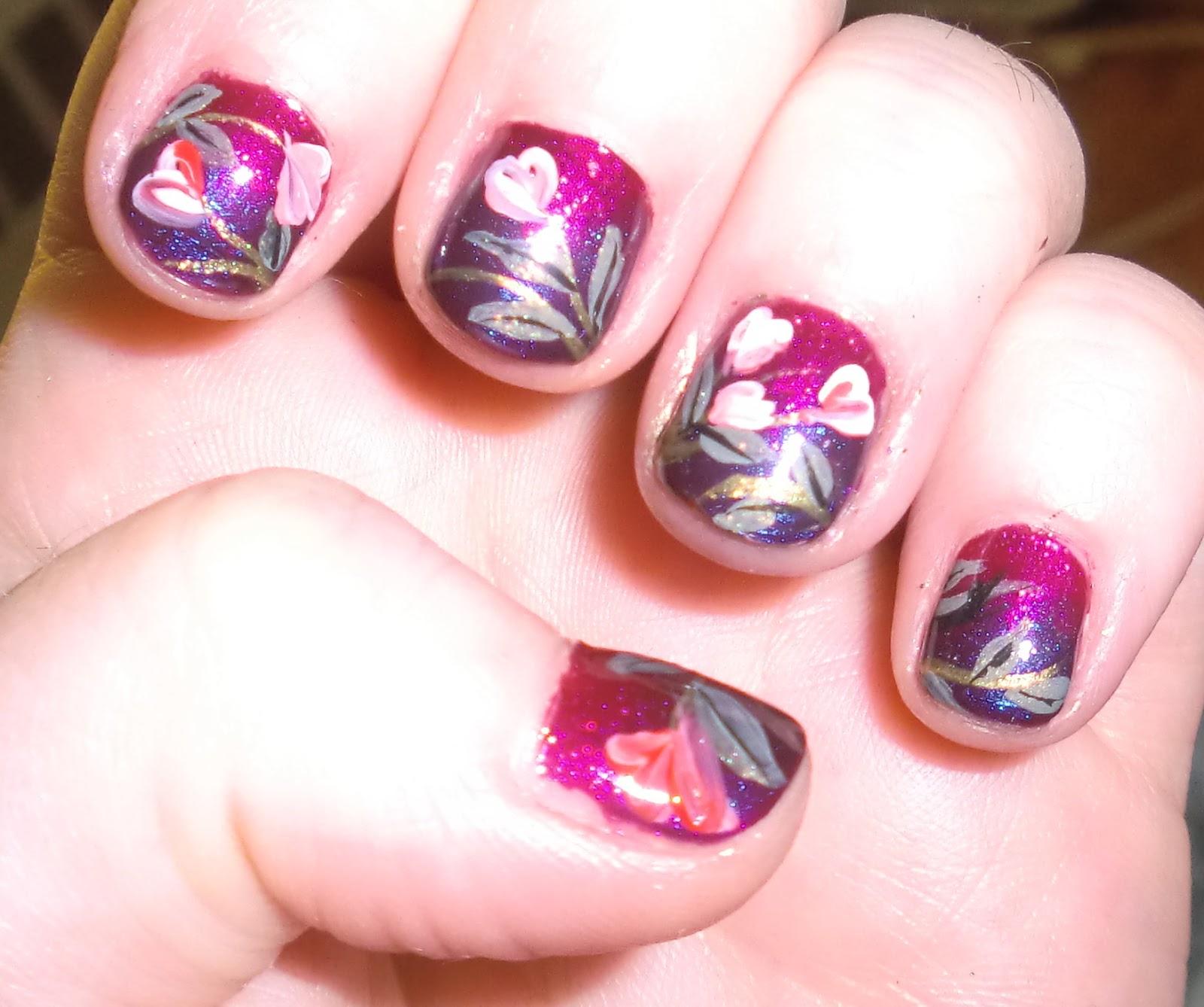 Cute Valentine Nail Art: Love4NailArt: Cute Floral Valentine's Day Nail Art For