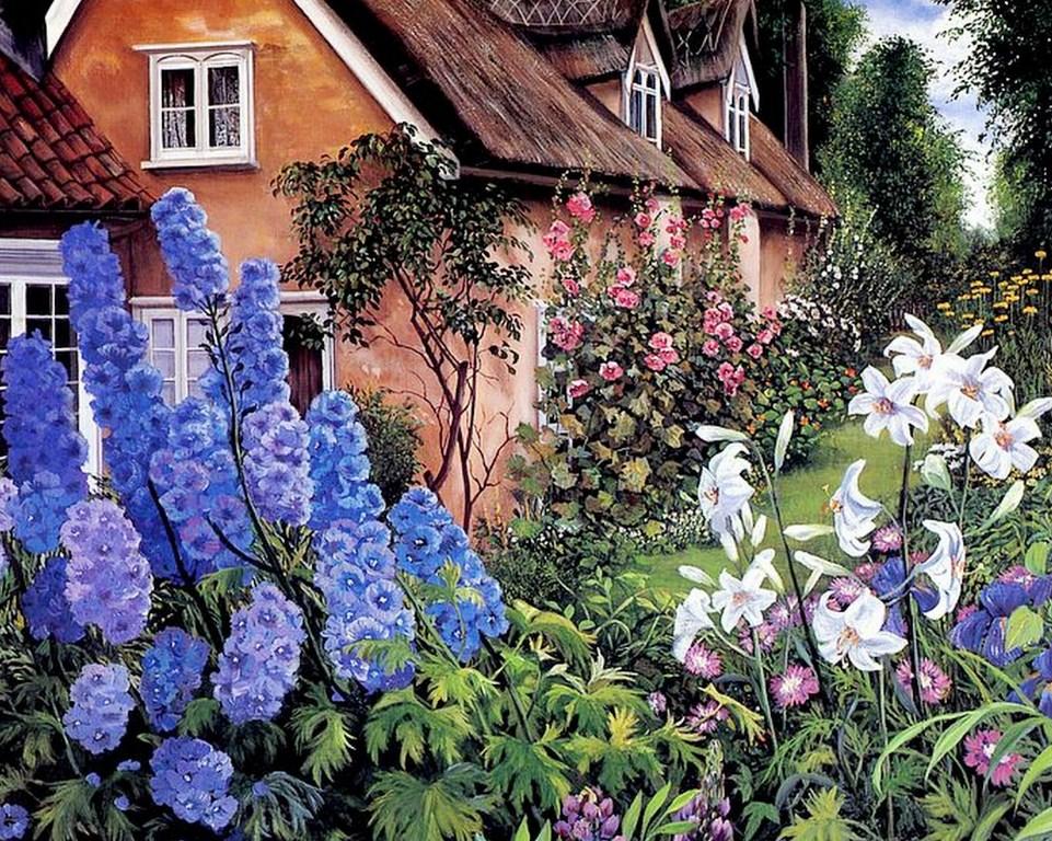 Im genes arte pinturas paisajes de jardines - Paisajes de jardines ...