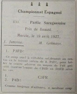 Información sobre el I Torneo Nacional de Ajedrez de Murcia 1927 en L'Echiquier, junio de 1927 (1)