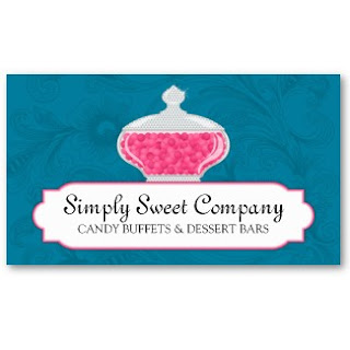 Business card showcase by socialite designs candy buffet and todays featured business card is for the candy buffet business the design has a beautiful glass jar filled with candies and a subtle floral background colourmoves