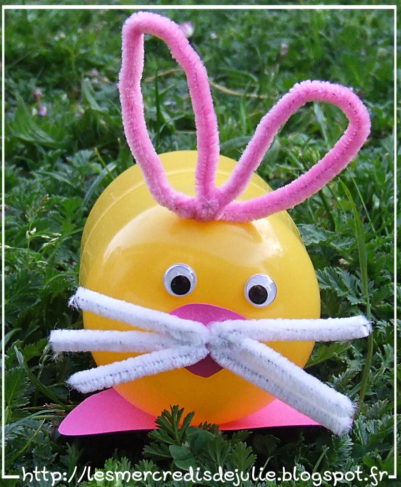 Les mercredis de julie lapin avec boite oeuf kinder - 4 images 1 mot poussin lapin ...