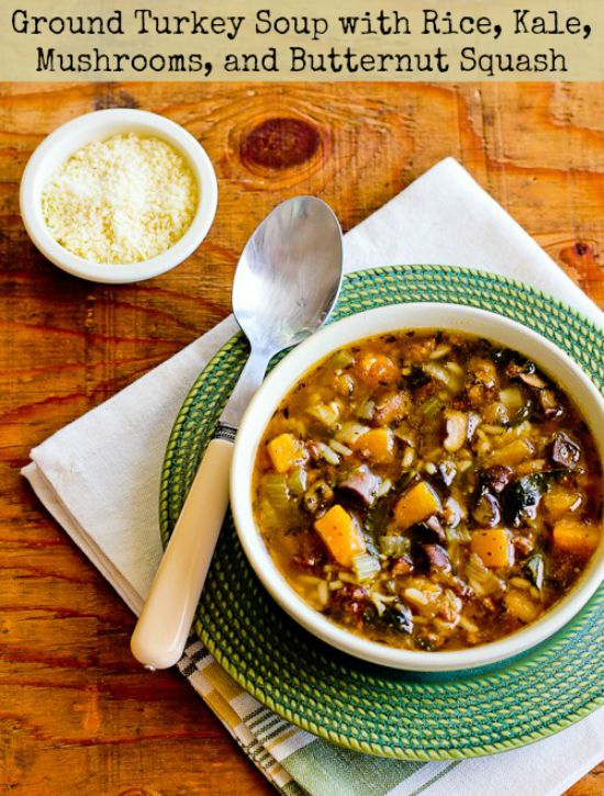 Ground Turkey Soup with Rice, Kale, Mushrooms, and Butternut Squash