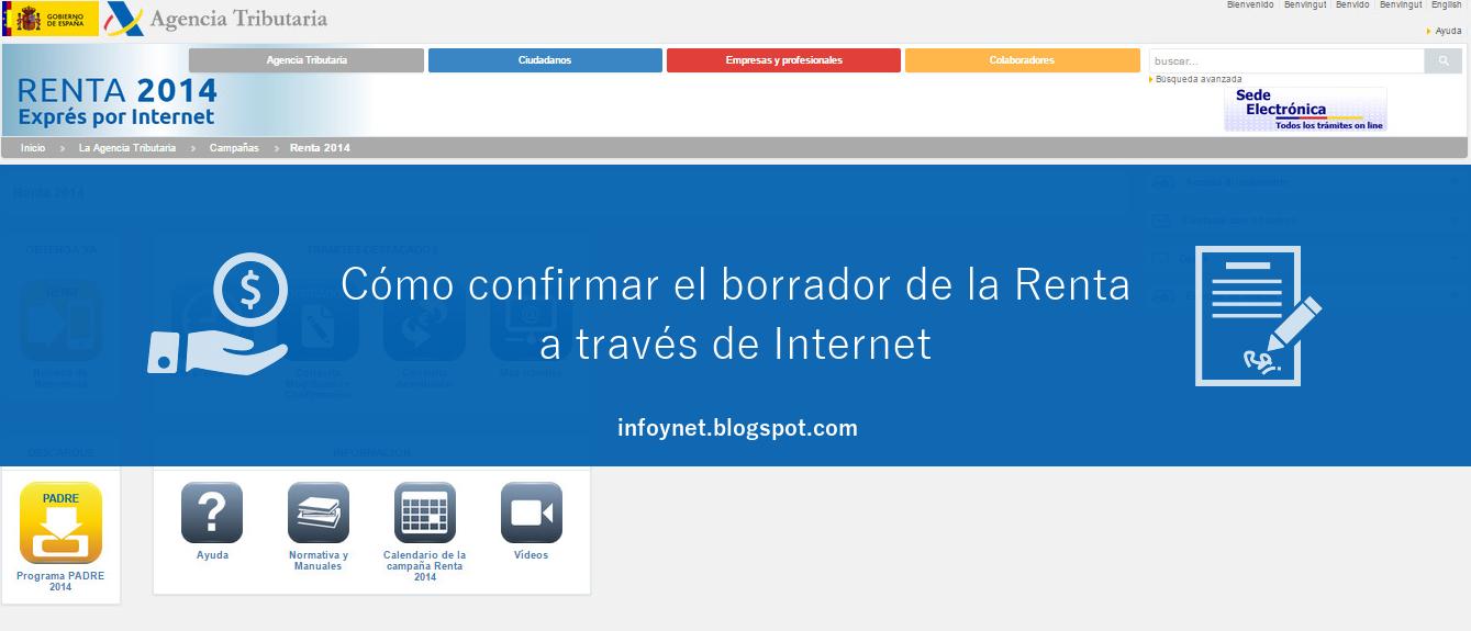 Cómo confirmar el borrador de la Renta por Internet