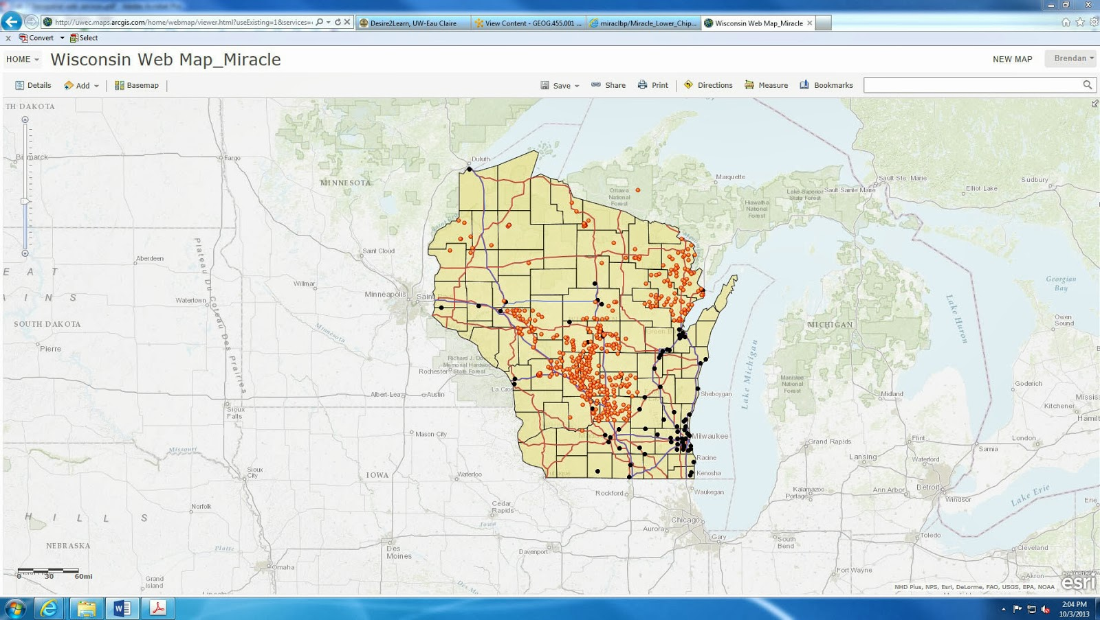 this particular data displays fires in 2004 in the state of wisconsin the data has been added to the map from the previous step