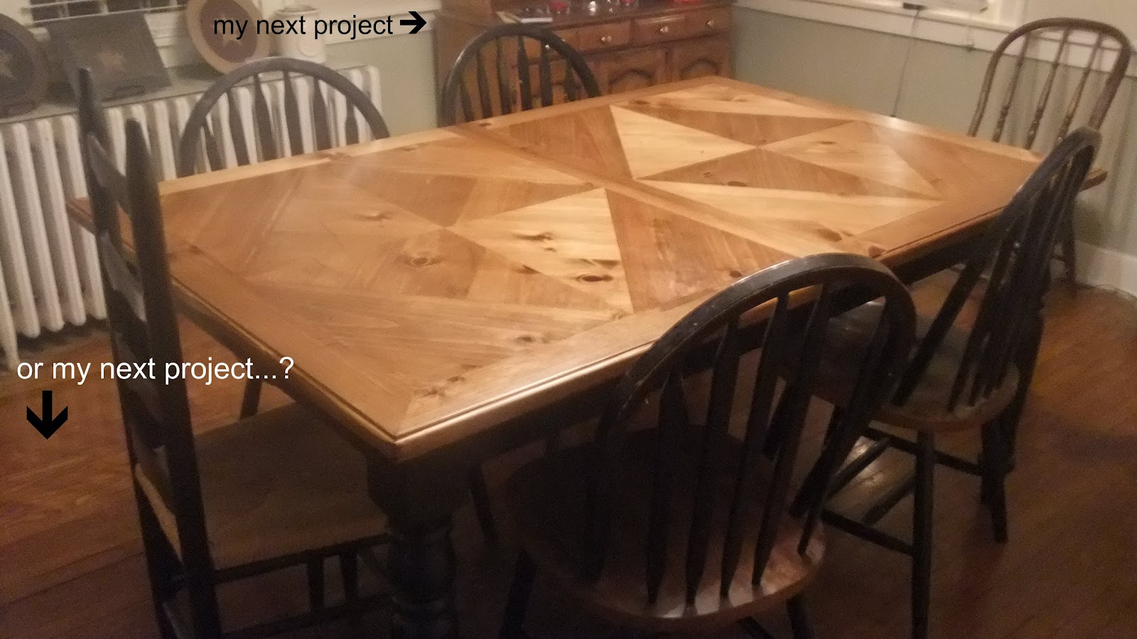 Momma and her men dining room table re do updated for My dining room 9 course