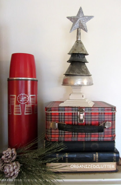 Christmas Vignette with Christmas Tree Made From Metal Funnels