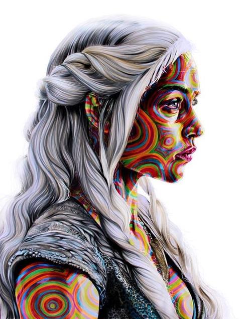 02-Emilia-Clarke-Daenerys-Targaryen-Game-of-Thrones-Joshua-Roman-Rainbow-Portraits-Drawings-Illustrations-www-designstack-co