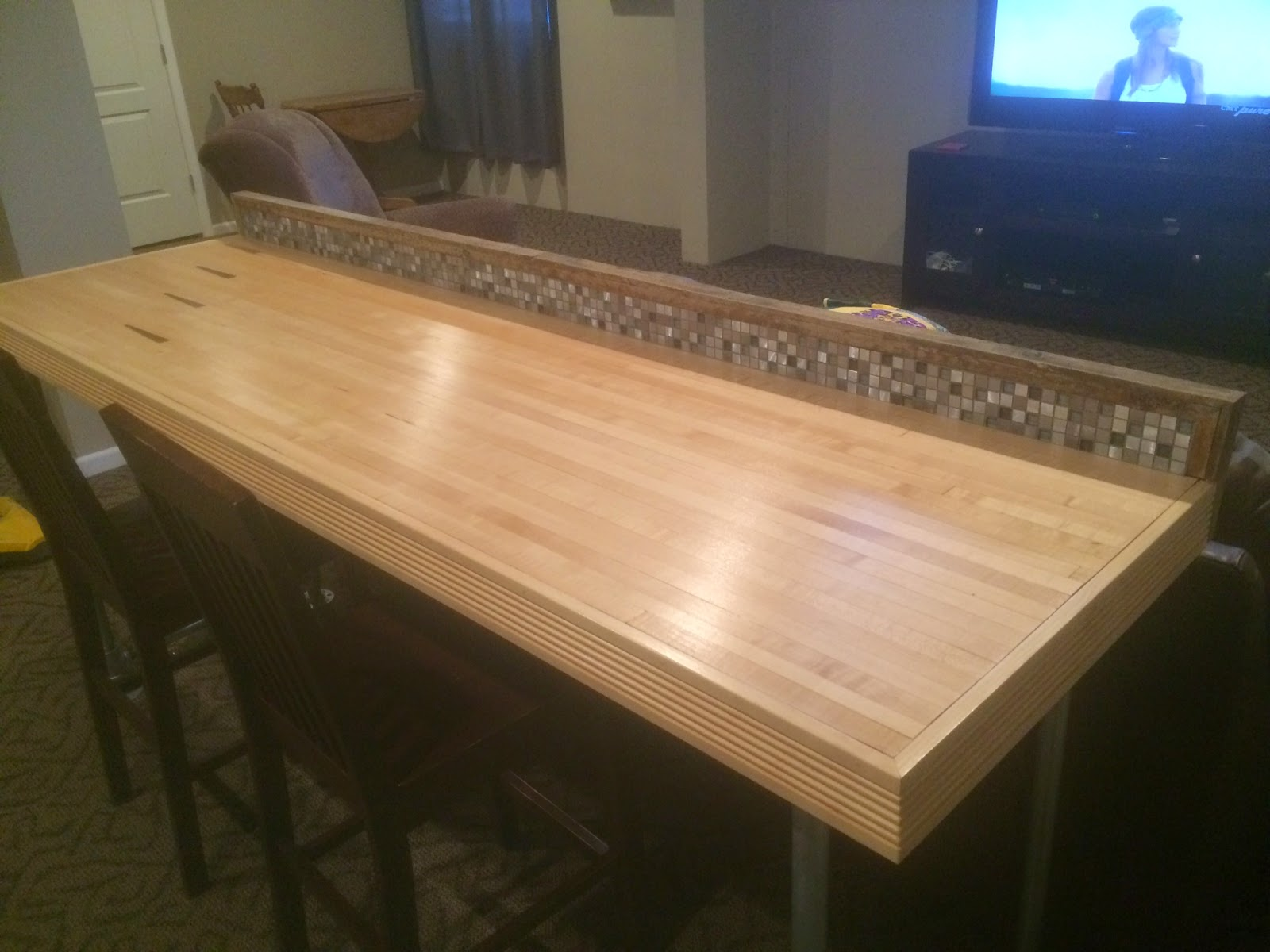 Pallet Wood Backsplash Bowling Alley Pallet Bar Project